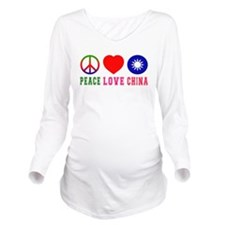 Peace Love China Long Sleeve Maternity T-Shirt