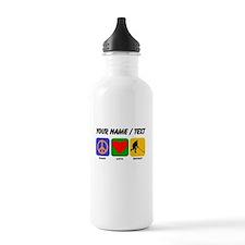 Custom Peace Love Hockey Sports Water Bottle
