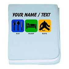 Custom Eat Sleep Save baby blanket