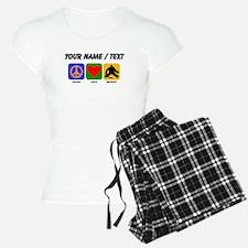 Custom Peace Love Hockey pajamas