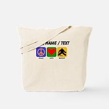 Custom Peace Love Hockey Tote Bag