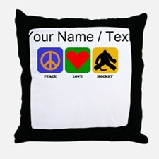Custom Peace Love Hockey Throw Pillow
