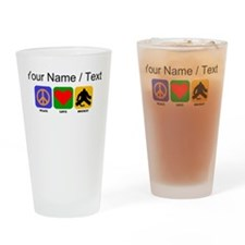 Custom Peace Love Hockey Drinking Glass