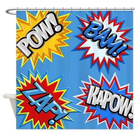 Curtains Ideas comic shower curtain : Comic Book Bursts Pow! 3D Shower Curtain by whimsicaltroll