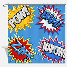 Comic Book Bursts Pow! 3D Shower Curtain