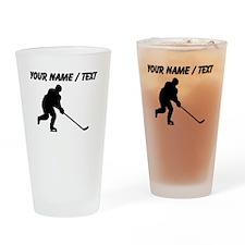 Custom Hockey Player Silhouette Drinking Glass