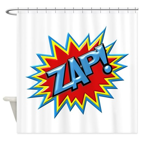 Curtains Ideas comic shower curtain : Comic Book Burst Zap! 3D Shower Curtain by whimsicaltroll