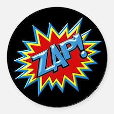 Comic Book Burst Zap! 3D Round Car Magnet