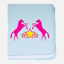 Two Rearing Ponies baby blanket