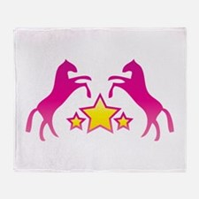 Two Rearing Ponies Throw Blanket