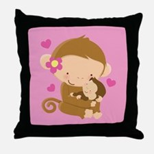 Monkey and Baby Throw Pillow