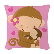 Monkey And Baby Woven Throw Pillow
