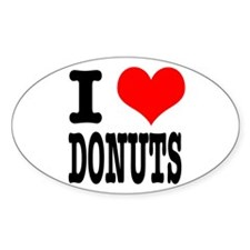 I Heart (Love) Donuts Oval Decal