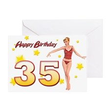 35th birthday with a sexy girl Greeting Cards