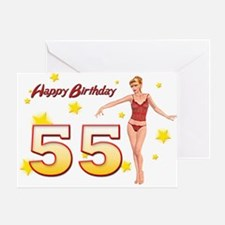 55th birthday with a sexy girl Greeting Cards