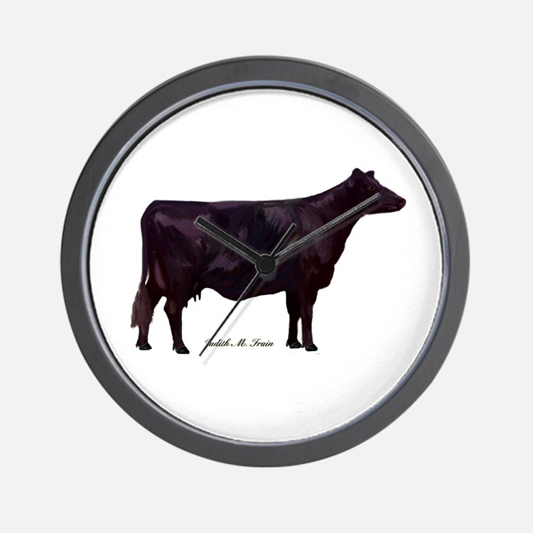 Angus Beef Cow Wall Clock