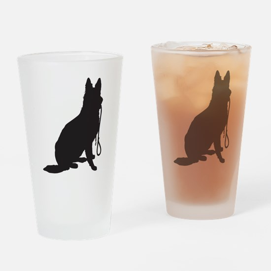 Shepherd with Leash Drinking Glass