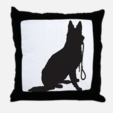 Shepherd with Leash Throw Pillow