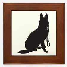 Shepherd with Leash Framed Tile