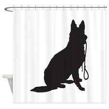 Shepherd with Leash Shower Curtain