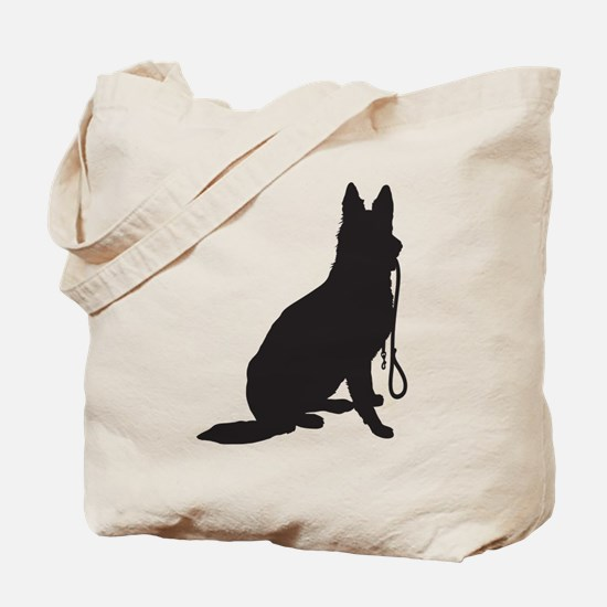 Shepherd with Leash Tote Bag