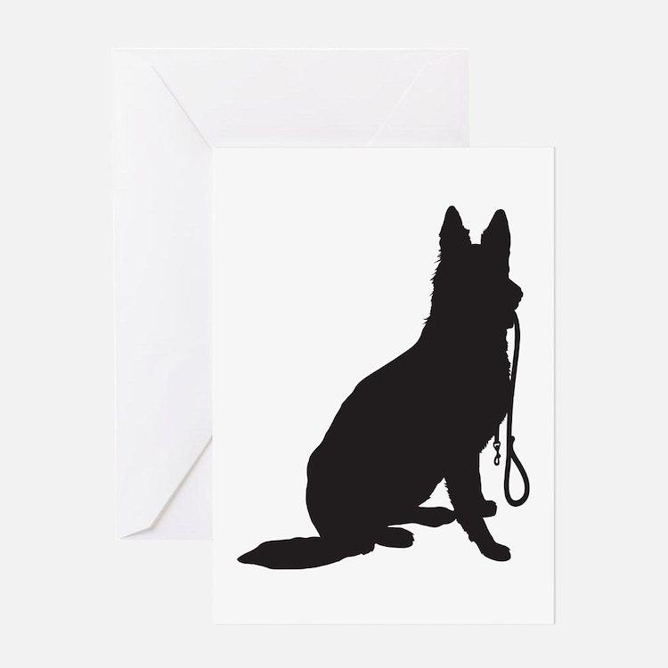 Shepherd with Leash Greeting Card