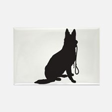 Shepherd with Leash Rectangle Magnet (100 pack)