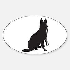 Shepherd with Leash Sticker (Oval)