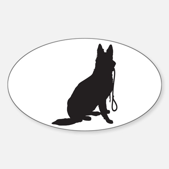 Shepherd with Leash Sticker (Oval)