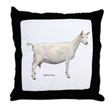 Saanen Dairy Goat Throw Pillow