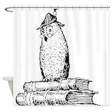 Owl sitting on books Shower Curtain