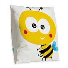 Child Bee Burlap Throw Pillow