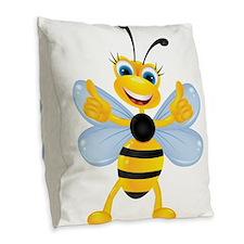 Thumbs up Bee Burlap Throw Pillow