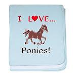 I Love Ponies baby blanket