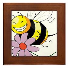 Bee with Flower Framed Tile