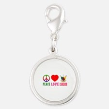 Peace Love Cameroon Silver Round Charm