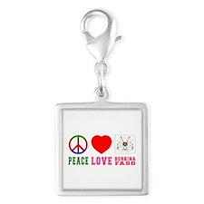 Peace Love Burkina Faso Silver Square Charm