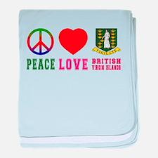 Peace Love British Virgin Islands baby blanket