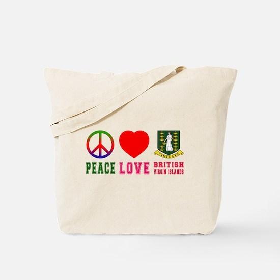 Peace Love British Virgin Islands Tote Bag