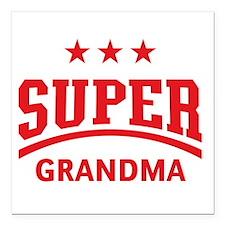 "Super Grandma (Red) Square Car Magnet 3"" x 3"""