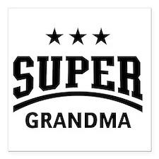 "Super Grandma (Black) Square Car Magnet 3"" x 3"""