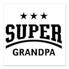 """Super Grandpa (Black) Square Car Magnet 3"""" x 3"""""""