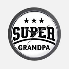 Super Grandpa (Black) Wall Clock