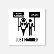 """Just Married – Mission Acco Square Sticker 3"""" x 3"""""""