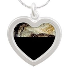 Prehistoric Cave Painting of Silver Heart Necklace