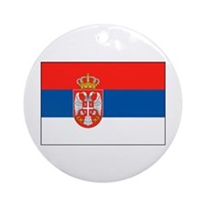 Cute Flag of serbia Ornament (Round)