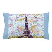 Eiffel Tower Pointillism With 2 Blue Border Sides