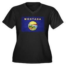 Montana Flag Distressed Women's Plus Size V-Neck D