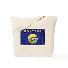 Montana Flag Distressed Tote Bag