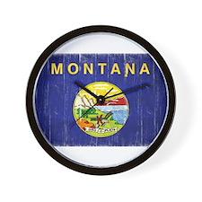 Montana Flag Distressed Wall Clock